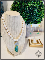 Trendy Thursday: The Teramasu Pearl with White Druzy & Agate Stone Pendant Necklace