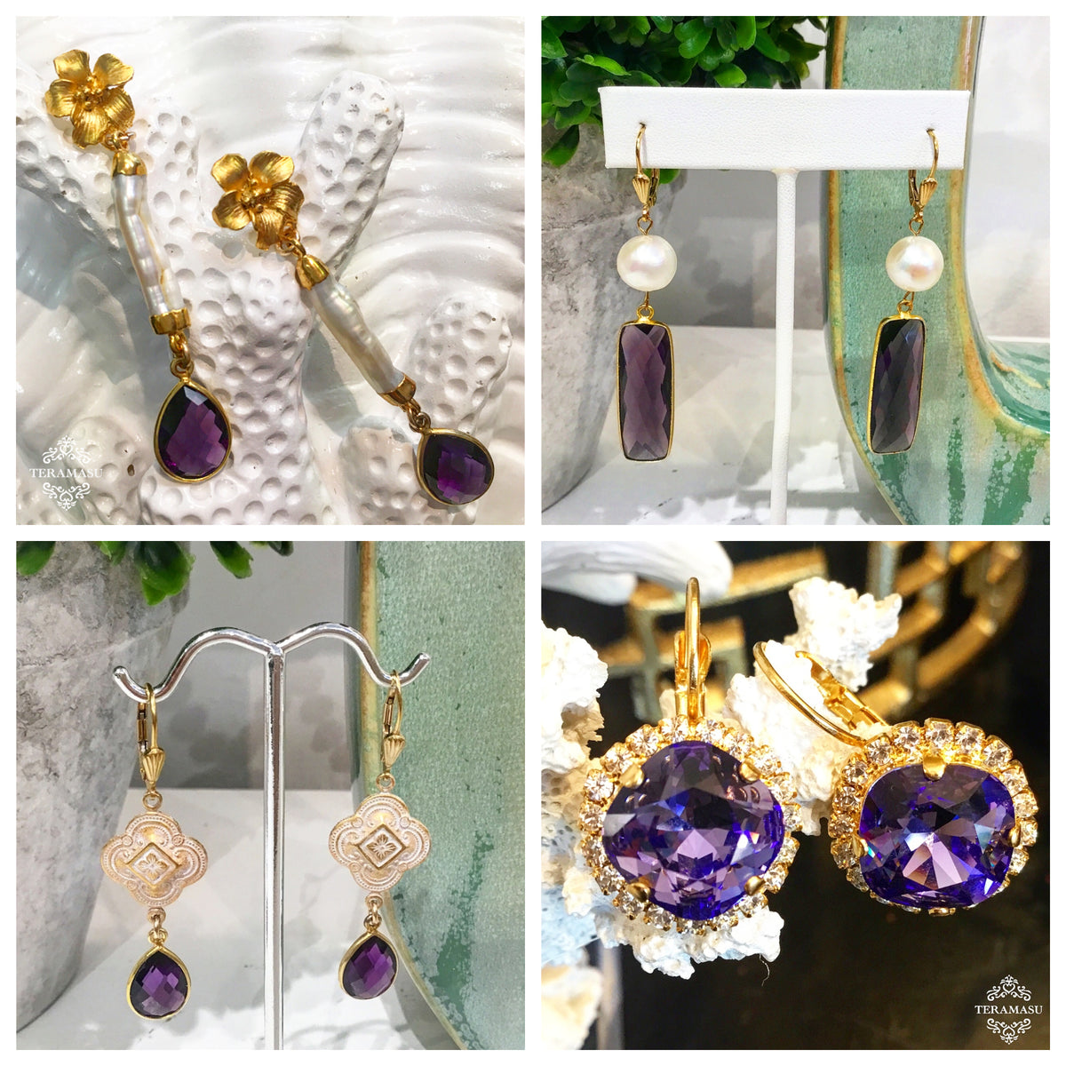 Monday Must-Haves: Gorgeous, Handmade Designer Purple Statement Earrings for Your One-of-a-Kind Style from Teramasu