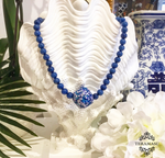 Chic Peek: Handmade Designer Teramasu Sodalite and One-of-a-Kind Hand-painted Tumbled Glass Necklace
