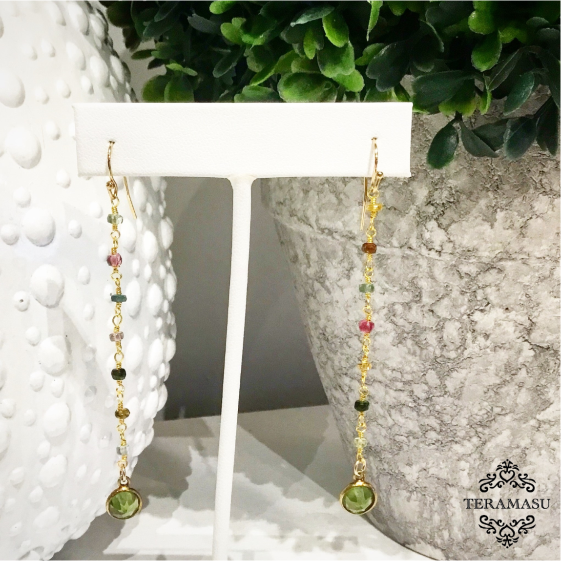 Chic Peek: One-of-a-Kind Handmade Teramasu Tourmaline and Peridot Drop Earrings