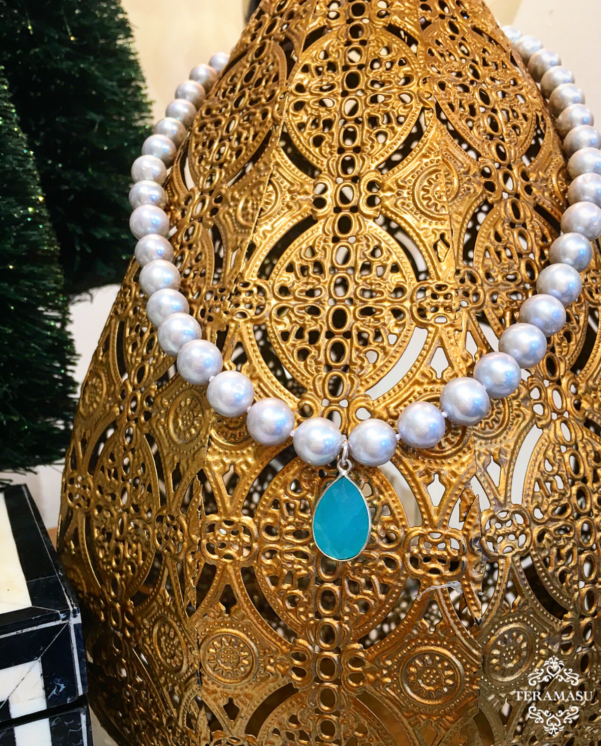 Monday Must-Have: Gorgeous & New, Handmade Designer Teramasu Grey Pearl with Aqua Chalcedony Pendant Necklace