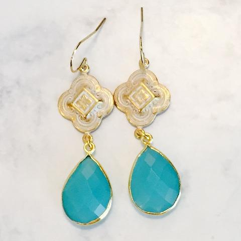 AQUA CHALCEDONY CLOVER PATINA Drop EARRINGS