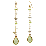 TERAMASU MOONSTONE PERIDOT WITH GREEN AMETHYST DANGLE EARRINGS