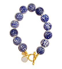 Teramasu Hand Painted Blue and White Porcelain Gold Filled Toggle Bracelet With Moonstone