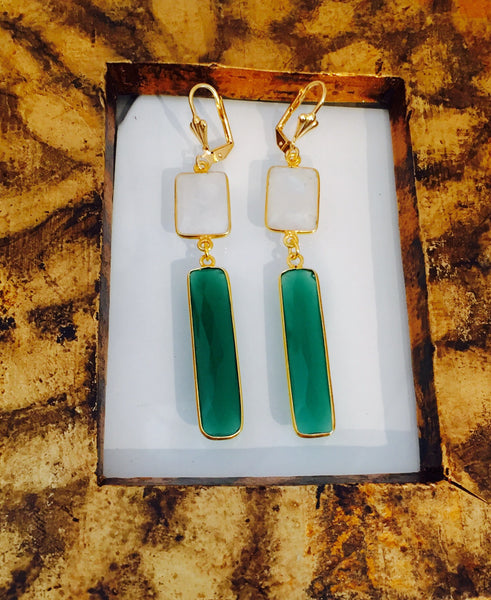 Green onyx moonstone earrings 24k gold filled hand-made by teramasu