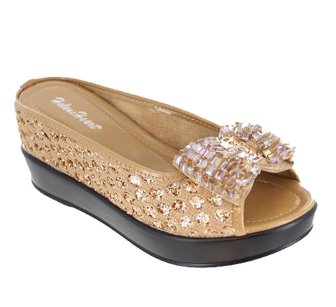 Helens Heart Gold Crystal Bow Shoes with sequins
