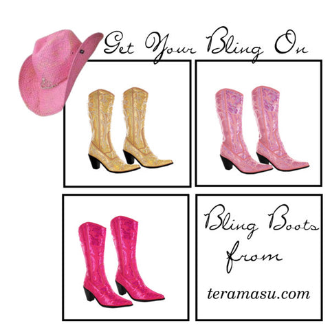 Western Bling Boots with Pink cowgirl Hat