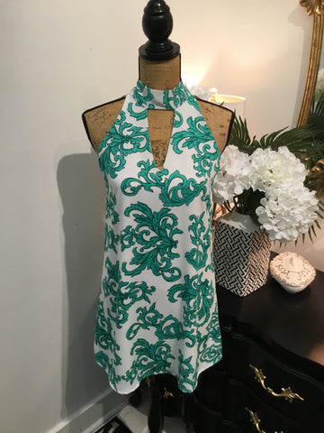 Teramasu Green and White Print Keyhole Sheath Dress