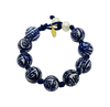 Teramasu Hand-painted Blue and White Porcelain Navy Satin with Pearl Bracelet.