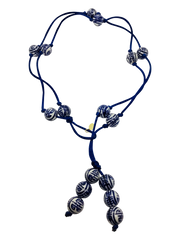 Teramasu Hand-Painted Blue And White Porcelain Navy Satin Lariat