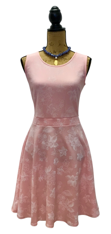 Teramasu Blush Pink and Floral Print Fit and Flare Skater Dress