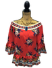 CORAL WITH FLORAL DESIGN PEPLUM TRIM GYPSY TOP WITH CROPPED BELL SLEEVES