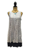 WHITE AND NAVY PRINT SLEEVELESS A-LINE DRESS WITH NAVY TRIM HEM