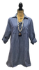 GREY-BLUE WITH THIN WHITE STRIPE LACE-UP COLLARED NECKLINE TUNIC WITH FRONT POCKETS AND ADJUSTABLE SLEEVES