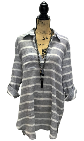 Teramasu Grey-Blue and White Striped Pocket Tunic Top with Collared V-Neck and Adjustable Sleeves.