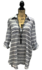 GREY-BLUE AND WHITE STRIPED FRONT POCKET TUNIC TOP WITH COLLARED V-NECK AND ADJUSTABLE SLEEVES