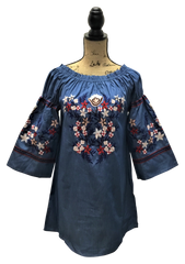 Teramasu Denim Color with Floral Embroidered Design Bell Sleeve, Off/On The Shoulder Tunic Dress