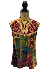 Teramasu Multi-Color and Pattern Sleeveless Top with Mandarin Collar and Embroidered Design