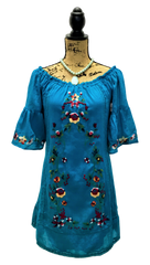 Teramasu Turquoise Floral Embroidered Ruffle Bell Sleeve Dress with Tie Waist