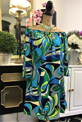 Gorgeous, adorable Teramasu Green, Blue, and White Abstract Design On-Off The Shoulder Dress with Cropped Sleeves