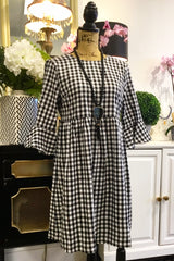 Teramasu Black and White Gingham Plaid Dress with Bow Back and Ruffle Sleeves