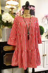 Teramasu Red and White Gingham Plaid Dress with Ruffled Cut and Cropped Sleeves