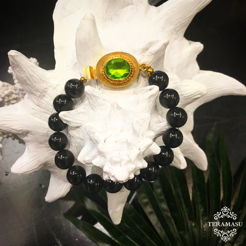 Teramasu Black Onyx and One of a Kind Green Stone Box Clasp Bracelet