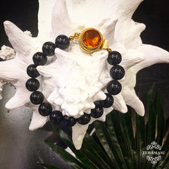 TERAMASU BLACK ONYX AND ONE OF A KIND ORANGE STONE BOX CLASP BRACELET