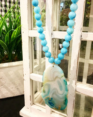 Teramasu Blue Jade and One of a Kind Agate Pendant Necklace  Teramasu Blue Jade and One of a Kind Agate Pendant Necklace TERAMASU BLUE JADE AND ONE OF A KIND AGATE PENDANT NECKLACE