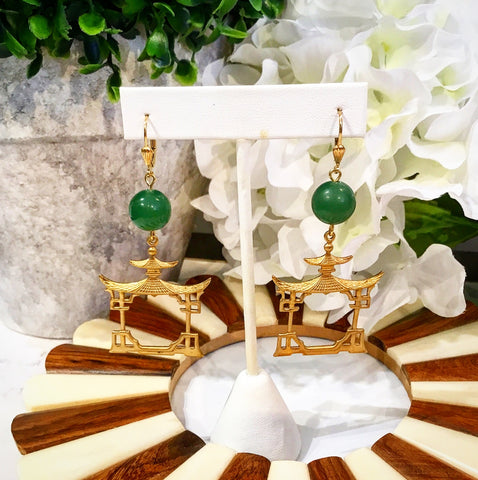 Teramasu Green Jade with Gold Pagoda Drop Earrings