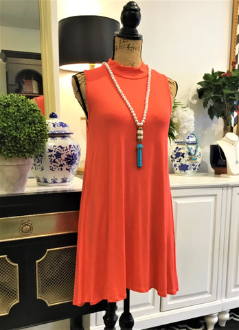 Coral Orange High Neck Sleeveless Swing Dress