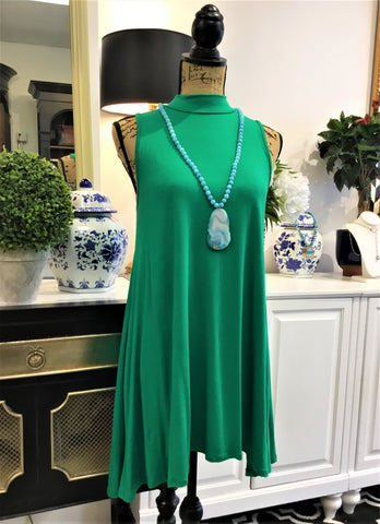 Kelly Green High Neck Sleeveless Swing Dress
