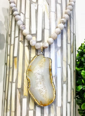 TERAMASU MOONSTONE AND ONE OF A KIND AGATE PENDANT NECKLACE