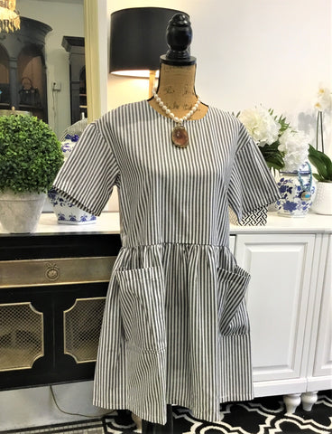 Teramasu Grey and White Stripe Short Sleeve Dress with Front Pockets
