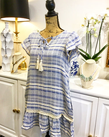 Blue and White Stripe Ruffle Sleeve and Hem Dress with Pockets