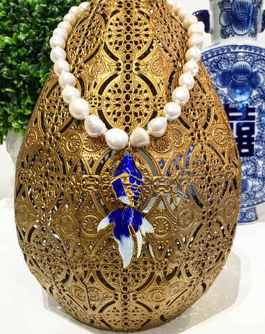 Monday Must-Have: Gorgeous & New Teramasu Freshwater Pearl and Blue Cloisonne Design Koi Fish Pendant Necklace