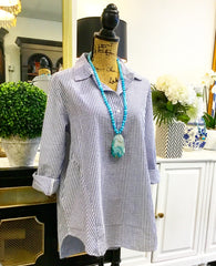 Teramasu Blue & White Seersucker Button Up Collared Tunic Blouse with Adjustable Sleeves