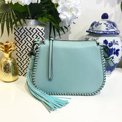 Teramasu Blush Blue Whipstitch Saddlebag Crossbody with Tassel Detail