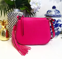 Teramasu Hot Pink Whipstitch Saddlebag Crossbody with Tassel Detail