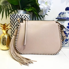 Teramasu Light Beige Whipstitch Saddlebag Crossbody with Tassel Detail