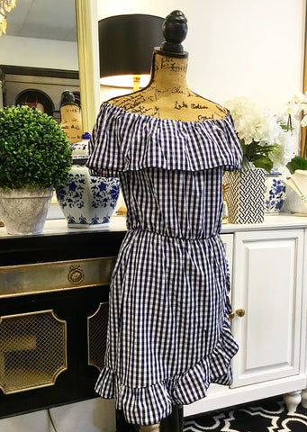 Teramasu Blue and White Gingham On-Or-Off The Shoulder Dress with Ruffle Neckline and Hem