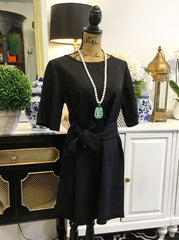 Classic Black Tie Waist Dress with Cropped Bell Sleeves