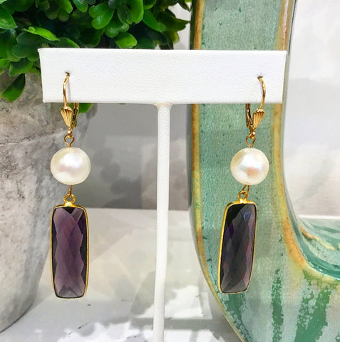 Teramasu Purple Amethyst and Pearl Leverback Earrings