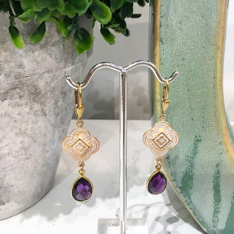 Teramasu Purple Amethyst Clover Patina Leverback Earrings