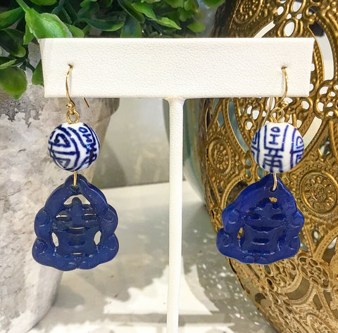 Teramasu Blue and White Hand-painted Porcelain and Carved Blue Jade Drop Earrings