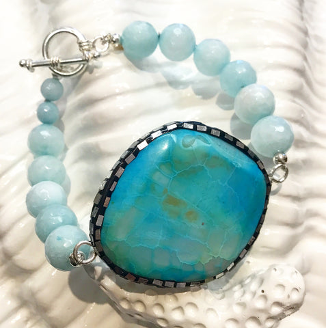 Teramasu Blue Faceted Jade with One-of-a-Kind Turquoise Agate Bracelet