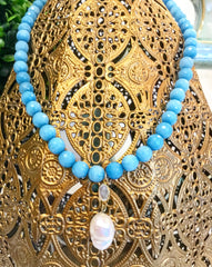 Teramasu Blue Faceted Jade Necklace With Baroque Pearl and Moonstone Pendant