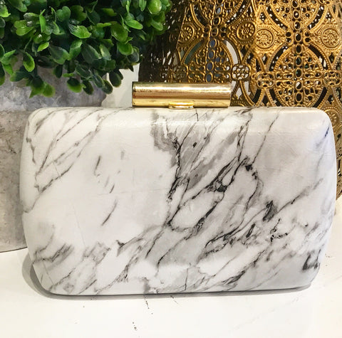 Teramasu Black & White Marble Print Clutch with Gold Clasp and Crossbody Chain