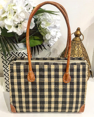 Teramasu Handmade Black & White Plaid Straw Handbag Purse