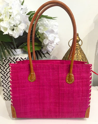Teramasu Handmade Hot Pink Straw Handbag Purse
